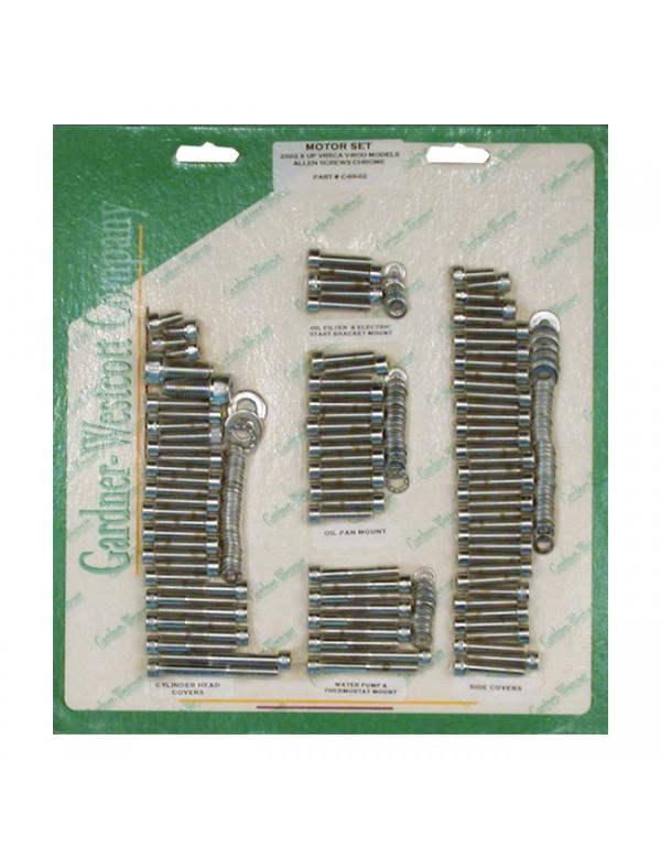 Kit complet de visserie moteur chromé Gardner Wescott V-ROD 02-17 503101 Catalogue