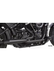 POTS TWO BROTHERS RACING 2-EN-1 Finition noire céramique, Silencieux Competition-S avec sortie fibre de carbone 2018 Softail ...