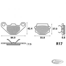 Plaquettes de frein arrière SBS pour Buell 1994-97 tout modèles refroidis par air 231813 Catalogue