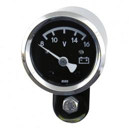 Mini voltmère MMB 48 mm fond noir 710225 Catalogue Zodiac - Pièces et accessoires pour Harley-Davidson