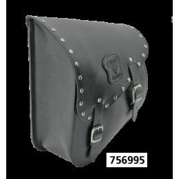 Sacoche Texas Leather pour bras oscillant de Softail 1984-2017 en cuir noir avec boucles et clous chromés 756995 Catalogue Zo...